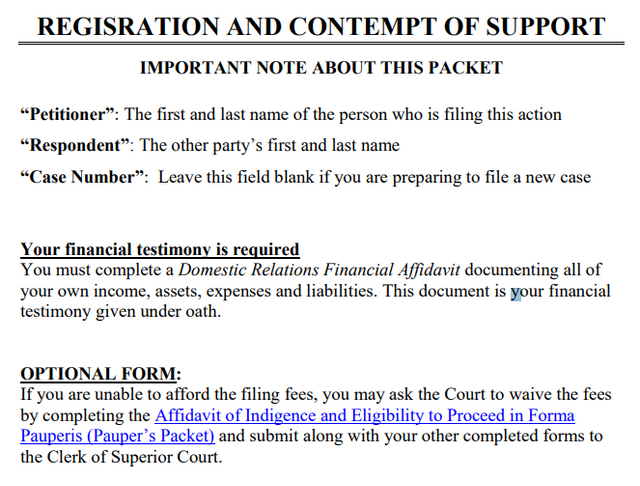 Registration and Contempts of support form