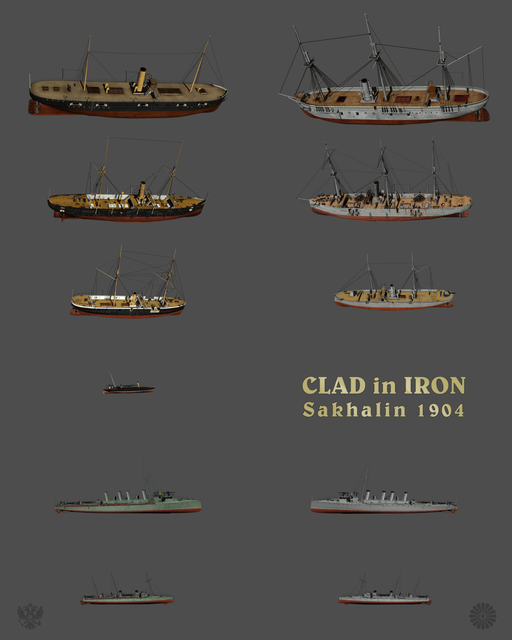 Russian and Japanese warships for Clad in Iron Sakhalin 1904