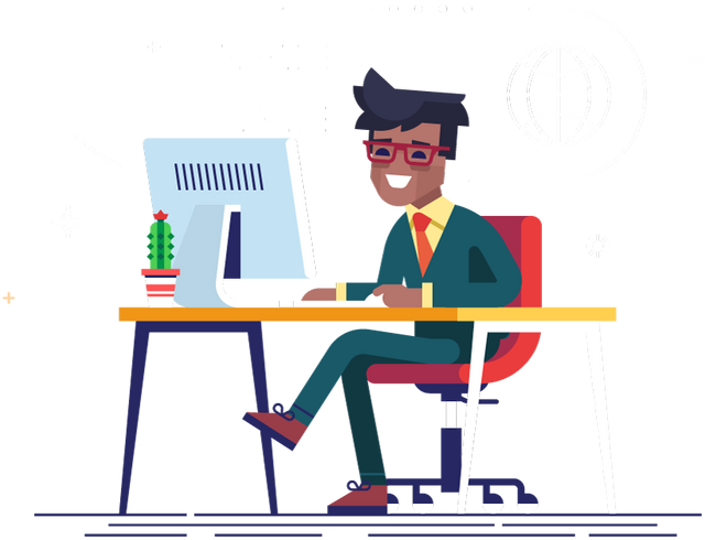 Male sitting at desk smiling at computer.