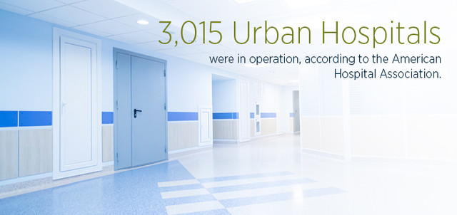 3,015 urban hospitals were in operation, according to the American Hospital Association.