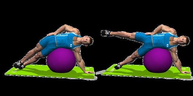 alzate gamba esterna sdraiato stability ball