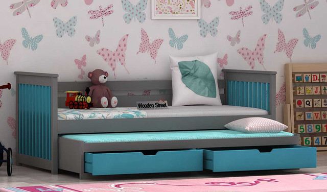 colorful kids bed with storage