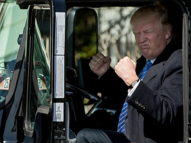 Trump behind the wheel of a truck