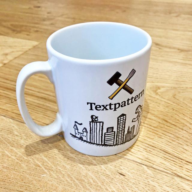 Textpattern printed mug side 1