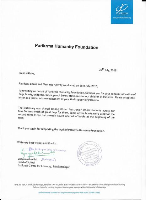 Parikrma to Nikhiya B3 30 7 2016