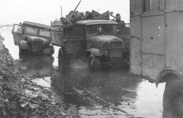 GAZ AA in a flooded road