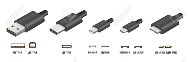Most of standart USB type A B and type C plugs mini micro universal computer cable connectors vector