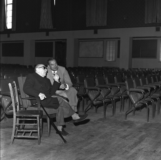 1963_Stravinsky_and_Tibor_Paul_conductor_in_St_Frances_Xavier_Hall_Dublin_1963