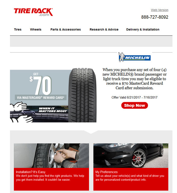 70 Rebate For Michelin Tires At Tire Rack 6 21 17 To 7 16 17