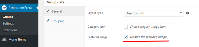 disable featured image