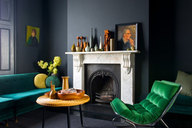 Jewel-tones-stand-out-against-dark-walls