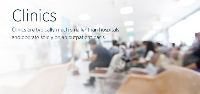 Clinics are typically much smaller than hospitals and operate solely on an outpatient basis.