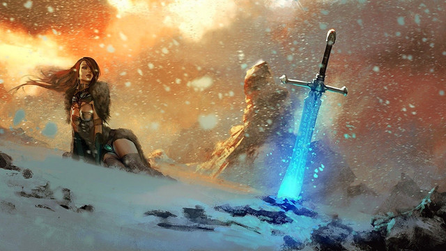warrior_woman_looking_at_the_glowing_swo