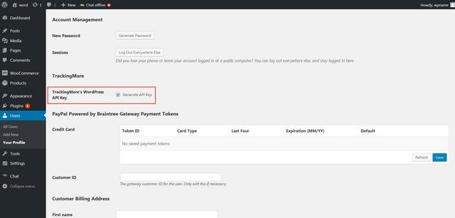 Finding WooCommerce API Key at WordPress - TrackingMore