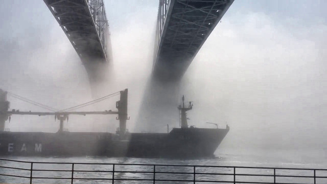 Polish Freighter in a mist Backlight 325