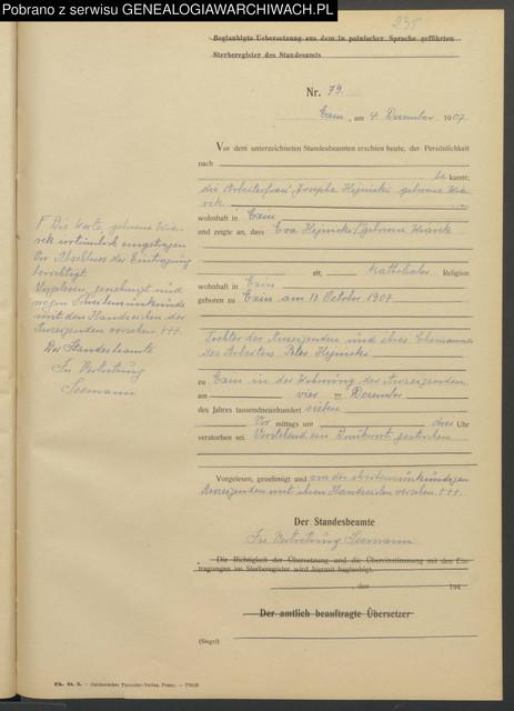 1907 12 04 Kcynia USC Zgon Ewa Hejnicka poz 79 c rka Piotra i J zefy Kowalskiej