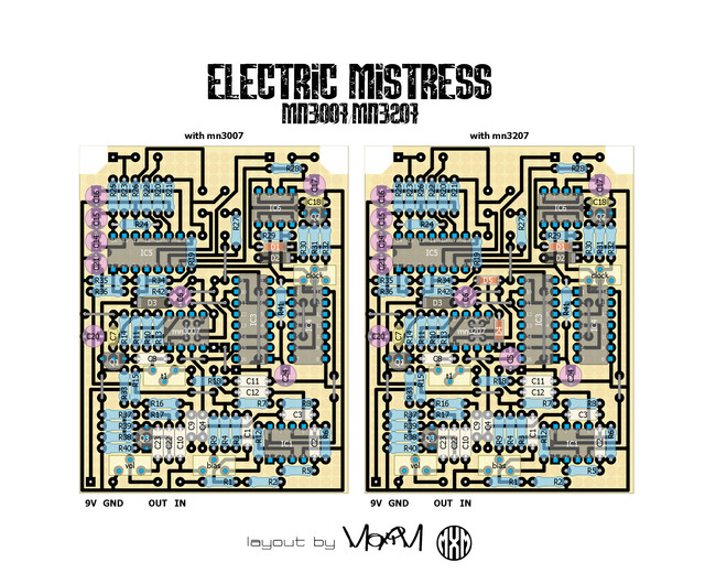 layout by maxim for ehx electric mistress with mn3007/mn3207