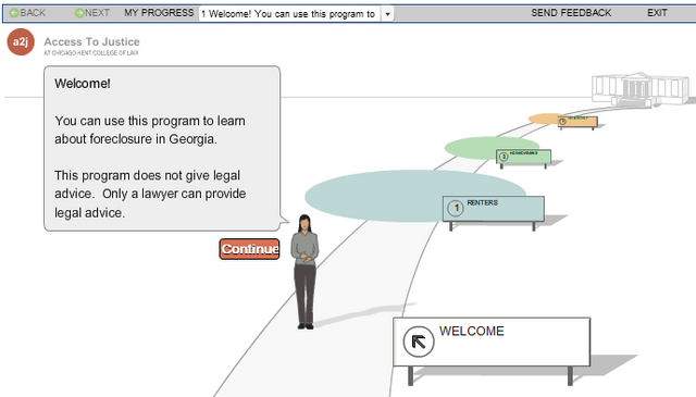 Screenshot of the foreclosure interactive guide