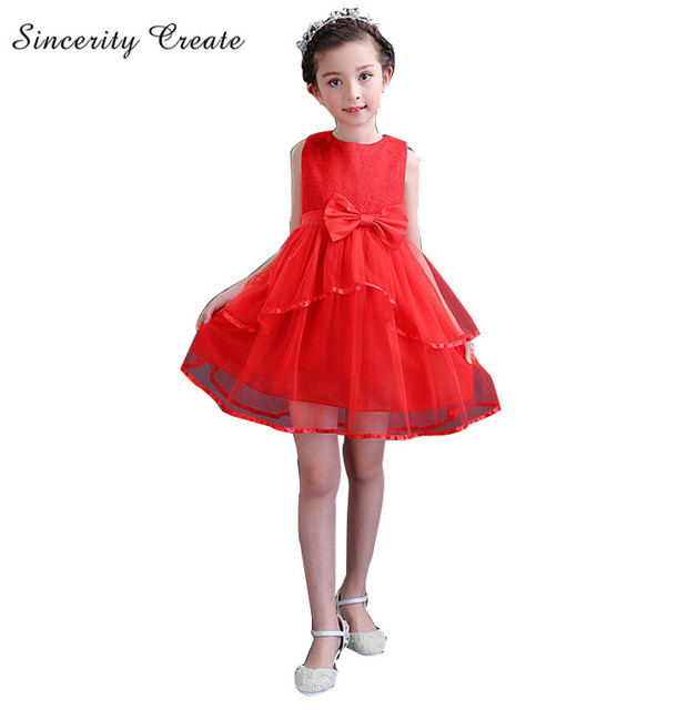 Lace Bow Lace Girl Dress Korean Style Girls Princess Clothes Kids ...