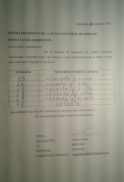 Solicitud de Numeros a Junta Electoral de Soriano