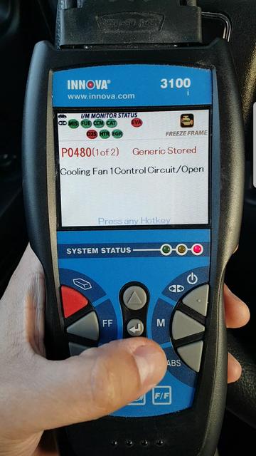Check engine light on Jeep Compass 2013 P0480 Error Code