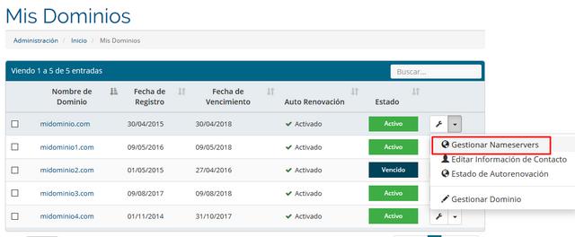 """Selecione el dominio seguido de """"Gestionar NameServer""""."""