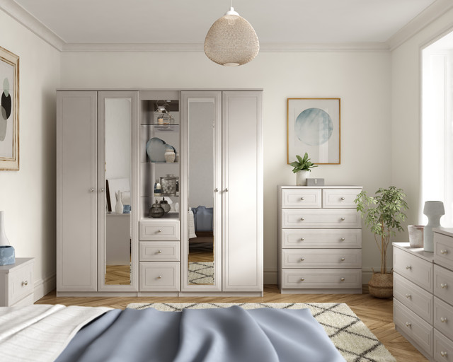 Details about Ready Assembled Boston White Wardrobe Drawers Complete  Bedroom Furniture Set