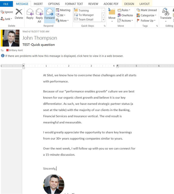 Outlook Margins on Recieved Messages