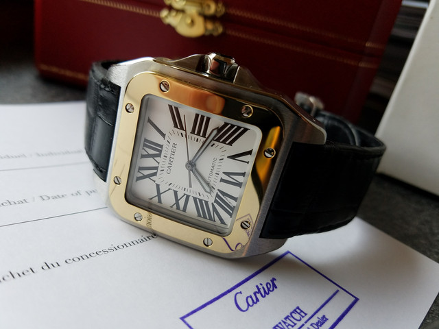 9671d9f80ec For sale is a gorgeous Cartier Santos 100 XL with leather strap   deployant  buckle (Ref. W20072X7). It is one of the most popular Cartier large size ...
