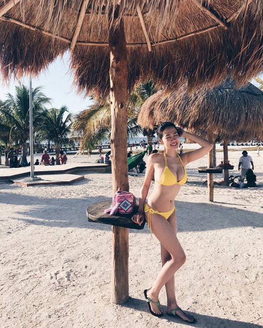 長榮正妹空姐Lili墨西哥Cancun度假_換上比基尼秀渾圓飽滿美胸跟歐美妹子比美
