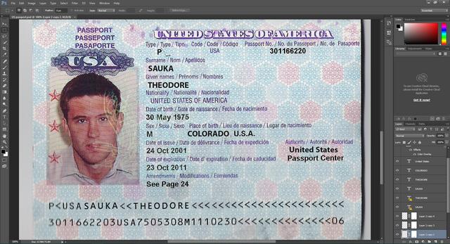 USA passport PSD Template