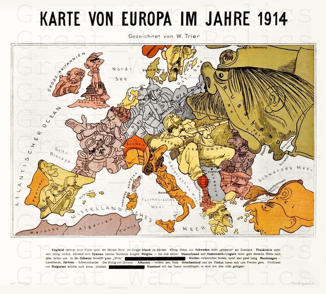 German Map WWI European War Map 1914 Reproduction Poster 117 x