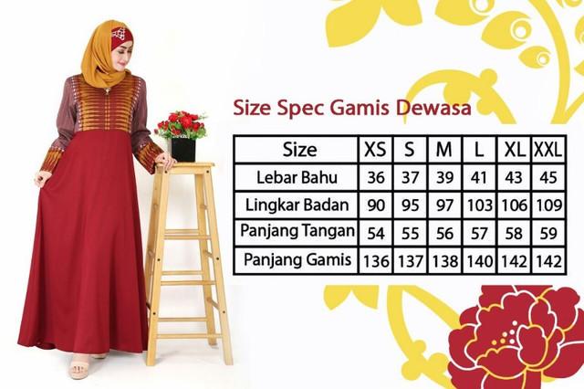 Size Chart Gamis Dewasa Keke