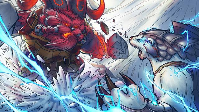 Volibear vs Ornn por Peihao Wang a través de wph.artstation.com