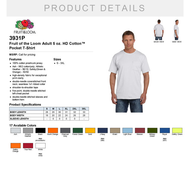 White Fruit of the Loom Adult 5 Oz HD Cotton Pocket T-Shirt Style # 3931P - Original Label S -