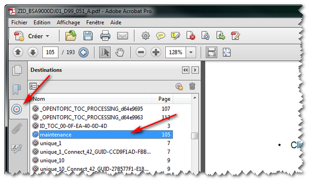 Named destination to an object in the PDF output - Oxygen