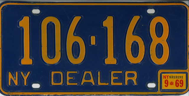NY 1969 Dealer License Plate 106 168x