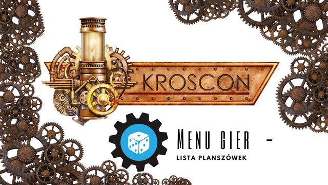Lista gier planszowych dostępne w games roomie na konwencie KrosCon, udostępnione prze BBPC