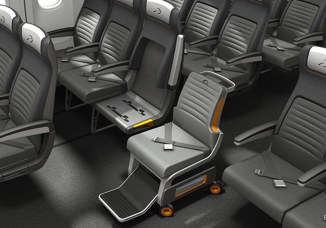Wheeler airplane seat