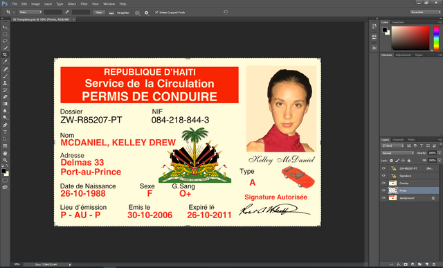 Haiti Driving License PSD Template