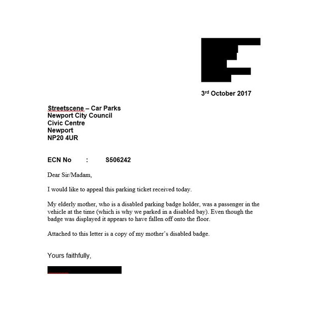 20 lovely letter template parking ticket appeal images complete fightback forums council parking ticket in disabled bay altavistaventures Choice Image