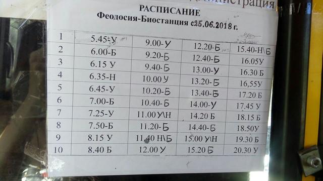 расписание феодосия урочище биостанция