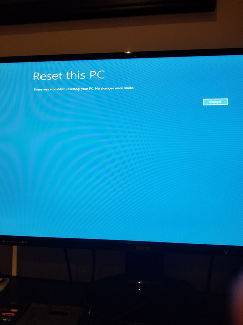 When I try and simply do a Reset and have it reinstall windows it does this.