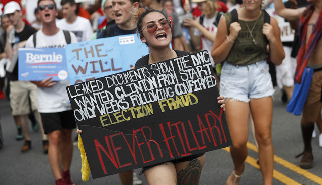 Supporters of Sen Bernie Sanders I Vt march during a protest in downtown Philadelphia Monday July 25