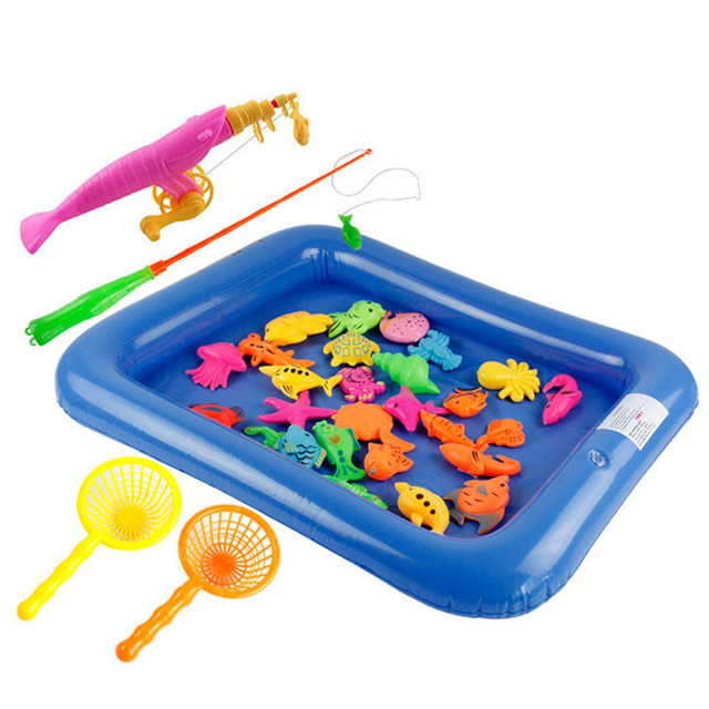 Inflatable pool magnetic fishing toy rod net set kids for Fishing toy set