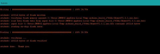 volcado Skynet2 3 2 bien despues de quemar bootloader