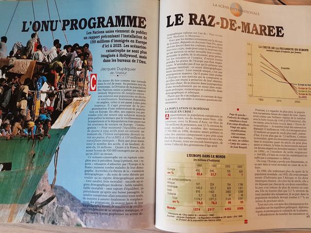 L ONU programme le raz de mar e Jacques Dupaquier Le spectacle du Monde avril 2000