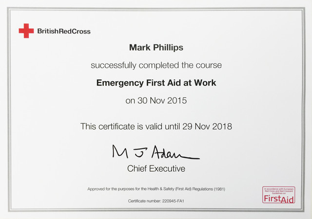 emergency first aid at work certificate
