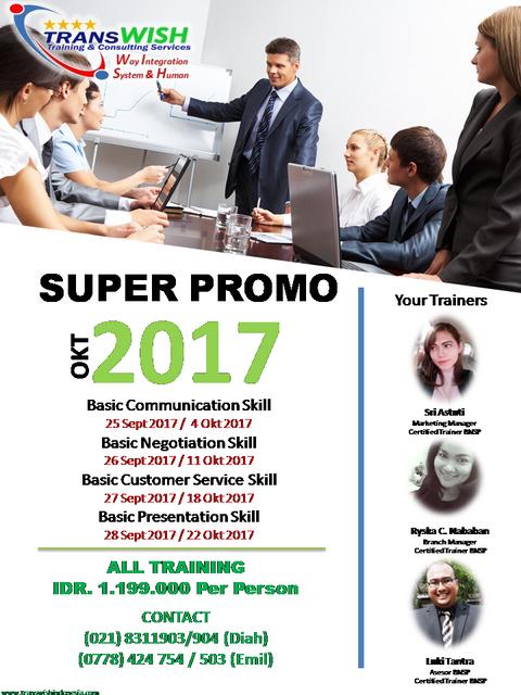 Promo Training Oktober 2017 - Transwish Indonesia