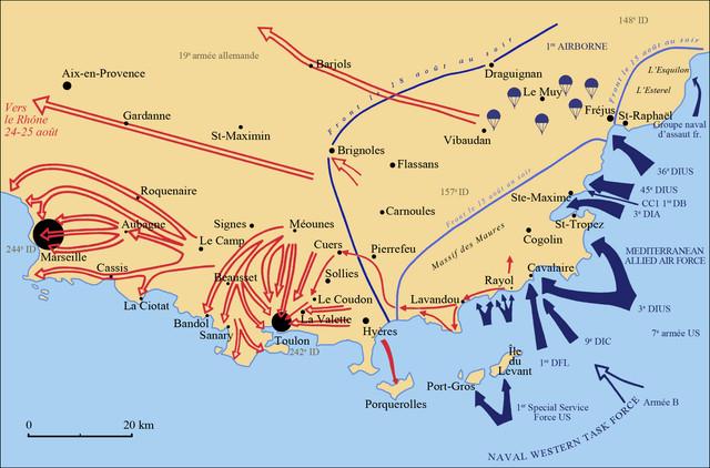 Mapa de los avances aliados en días posteriores a la invasión
